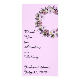 Wreath Purple Wedding Flowers Floral Thank You Card