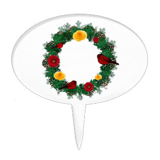 "Wreath ""Red Bird"" Pine Cone Flowers Cake Pick"
