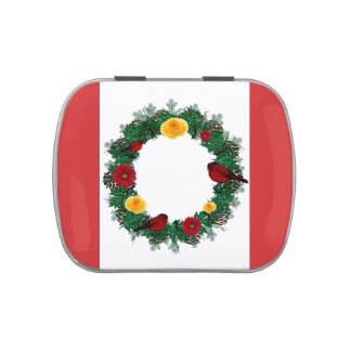 "Wreath ""Red Bird"" Pine Cone Flowers Candy Tin"