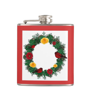 "Wreath ""Red Bird"" Red/Yellow Flowers Flask"