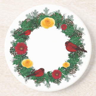 "Wreath ""Red Bird"" Yellow/Red Flowers Coasters"