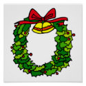 Wreath red bow & bells