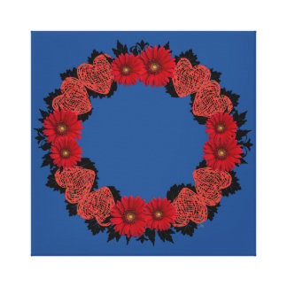 """Wreath """"Red Heart"""" Red Flowers Canvas Print"""