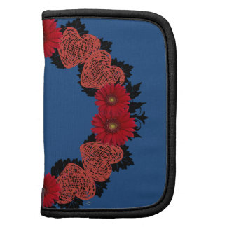 """Wreath """"Red Heart"""" Red Flowers Folio Planner"""