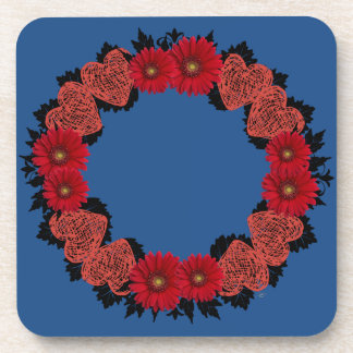 "Wreath ""Red Heart"" Red Flowers Hearts Coasters"