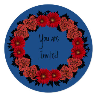 """Wreath """"Red Heart"""" Red Flowers Hearts Invitation"""