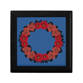 """Wreath """"Red Heart"""" Red Flowers Hearts Jewelry Box"""
