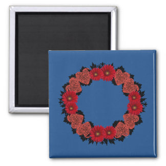 """Wreath """"Red Heart"""" Red Flowers Hearts Magnet"""