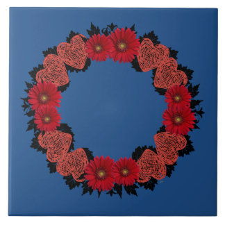 "Wreath ""Red Heart"" Red Flowers Hearts Trivet"