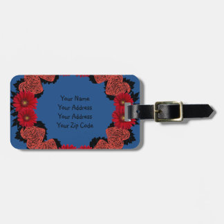 """Wreath """"Red Heart"""" Red Flowers Luggage Tag"""