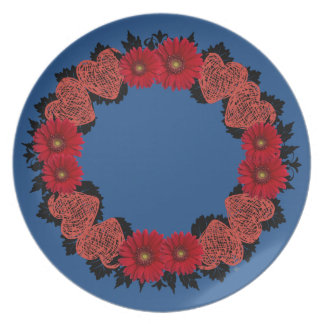 "Wreath ""Red Heart"" Red Flowers Melamine Plate"