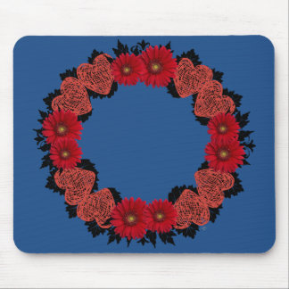"""Wreath """"Red Heart"""" Red Flowers Mouse Pad"""