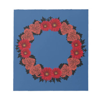 "Wreath ""Red Heart"" Red Flowers Notepad"