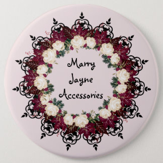 "Wreath ""Red Leaf"" Flowers Floral Buttons"