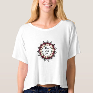 "Wreath ""Red Leaf"" Flowers Floral Crop T-Shirt"