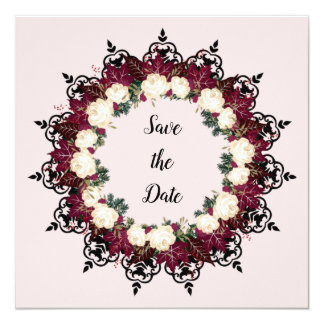 "Wreath ""Red Leaf"" Flowers Floral Invitations"