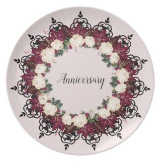"Wreath ""Red Leaf"" Flowers Floral Melamine Plates"