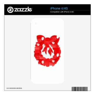 Wreath Red Silk Fabric Patch n Baloons Skin For iPhone 4S