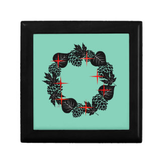 """Wreath """"Red Star"""" Flowers Floral Jewelry Box"""