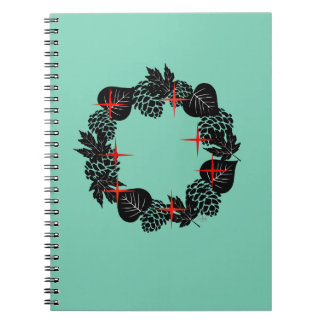 "Wreath ""Red Star"" Flowers Floral Lucite Notebook"