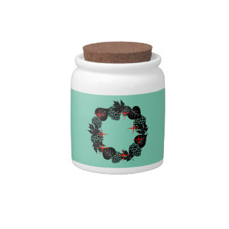 "Wreath ""Red Star"" Pine Cone Black Leaf Candy Jar"
