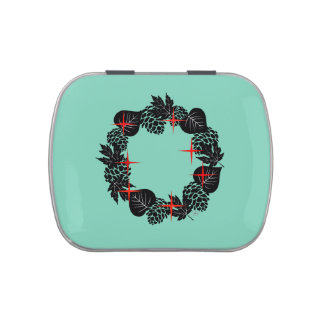 "Wreath ""Red Star"" Pine Cone Black Leaf Candy Tin"