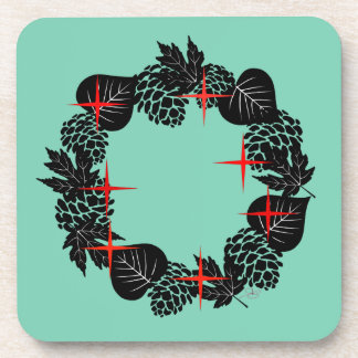 "Wreath ""Red Star"" Pine Cone Black Leaf Coasters"
