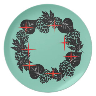 "Wreath ""Red Star"" Pine Cone Melamine Plate"