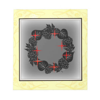 "Wreath ""Red Star"" Stars Pine Cones Notepad"