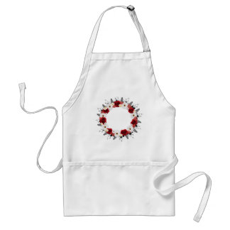 """Wreath """"Red Wedding"""" Red/White Flowers Apron"""