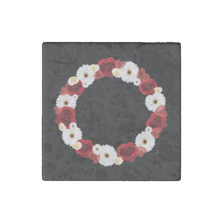 """Wreath """"Red Wedding"""" Red/White Flowers Magnet Stone Magnet"""