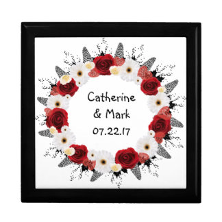 "Wreath ""Red Wedding"" White Flowers Gift Box"