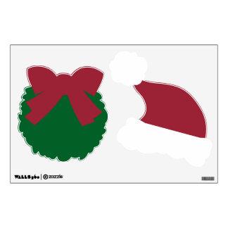 Wreath & Red & White Santa Hat Decals v5b