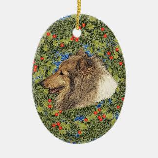 Wreath Rough Collie Ceramic Ornament