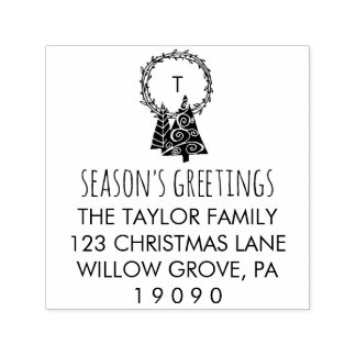 Wreath Season's Greetings Christmas Return Address Self-inking Stamp