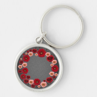 """Wreath """"Simple Circle"""" Gray Red Flowers Keychain"""