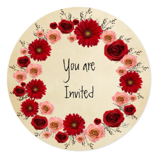 """Wreath """"Simple Circle"""" Pink/Red Flowers Invitation"""