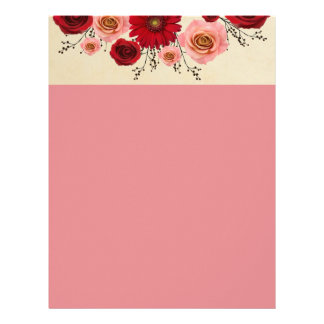 "Wreath ""Simple Circle"" Pink/Red Flowers Letterhead"