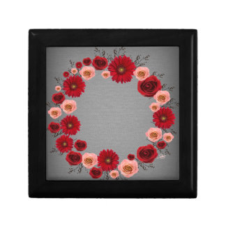"Wreath ""Simple Circle"" Red/Pink Flower Jewelry Box"