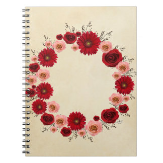 """Wreath """"Simple Circle"""" Red/Pink Flower Notebook"""