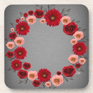 "Wreath ""Simple Circle"" Red/Pink Flowers Coasters"