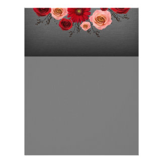 "Wreath ""Simple Circle"" Red/Pink Flowers Letterhead"