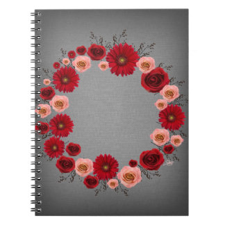 """Wreath """"Simple Circle"""" Red/Pink Flowers Notebook"""