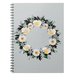 """Wreath """"Simple Star"""" Gray White Flowers Notebook"""