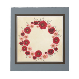 "Wreath ""Simple Star"" Pink/Red Flowers Notepad"