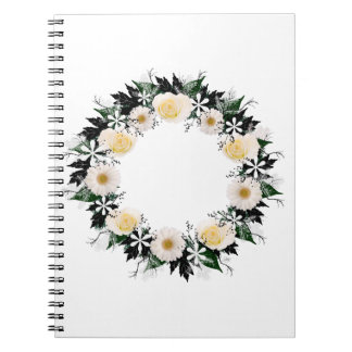 """Wreath """"Simple Star"""" White Flowers Notebook"""