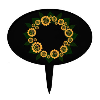 """Wreath """"Sun Fun"""" Yellow Flowers Cake Pick"""