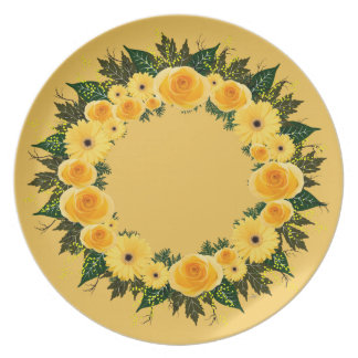 "Wreath ""Sunshine Inn"" Yellow Flower Melamine Plate"