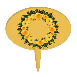 "Wreath ""Sunshine Inn"" Yellow Flowers Cake Pick"