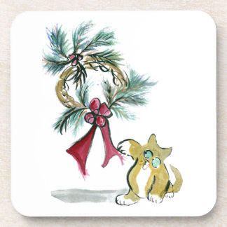 wreath tag by kitten beverage coaster